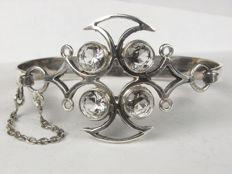 AKT silver bracelet bangle with rock crystal