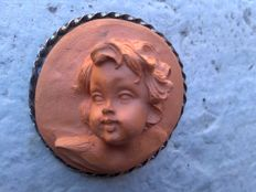 Cameo brooch in terracotta with silver setting – Made in the '50s