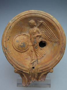 Roman terracotta oil lamp with goddess Victoria on the mirror - 8.5 cm