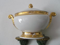 Large porcelain Empire Terrine heightened with gold 1820-1860