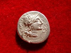 Roman Republic - M. Sergius Silus silver denarius (3,83 g., 19 mm.) minted in Rome in 116-115 B.C. Horseman galloping left with sword.