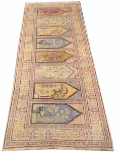 20th Century Pictorial Turkish Kesary Silk Hand Knotted Area Carpet Rug 222 cm x 83 cm