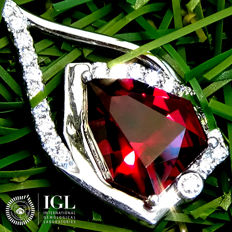 Garnet Pendant With Necklace And Natural Diamond 18k Gold VIVID RED Untreated Gemstone 4.97 ct - Certified  - No Reserve