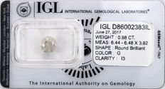 0.98 ct brilliant cut diamond  G  I3