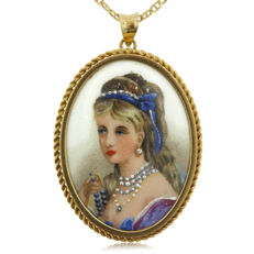 Handpainted Limoges Gold Pendant, as new.