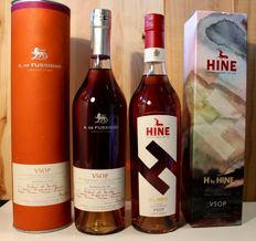 2 rare bottles Cognac: H by Hine VSOP incl. limited original box + A. de Fussigny V.S.O.P. Cognac - 2x700ml/70cl, 2x40%vol.