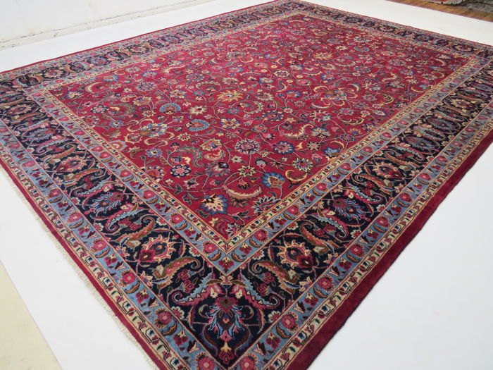 Dreamily beautiful Persian rug, Mashad/Iran, 390 x 308 cm, semi-antique, ca. 1970, signed Oriental carpet ***Top Clean***, fine natural colours