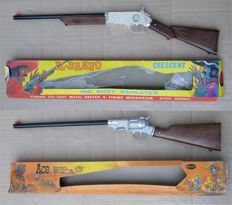 2 Vintage Crescent Toy Ltd El-Bravo & Ace 100 shot repeater cap toy rifles, Made In England (New/Never Used/Unfired)