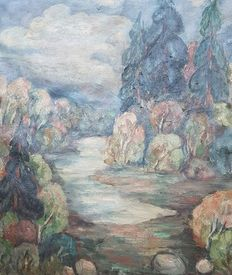 Erna Thiu (20thcentury) (Unknown). Oil on canvas depicting a mountain landscape