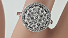 Diamond fashion ring made of 14 kt white gold - size 7,5