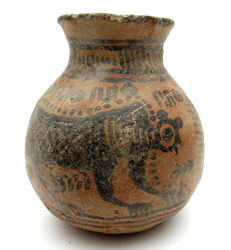 Indus Valley Painted Terracotta jar with Monkey Motif - 93x84mm