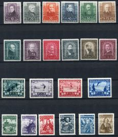 Austria 1931/33 - Selection on stock card, ANK 524/29, 545/54, 557/62