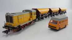 "Märklin H0 - 2845 - 5-piece freight train set with diesel locomotive BR V36 ""Railbouw Leerdam"", 3 self-discharging wagons and 1 service wagon."