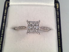 Vintage white gold ring with 0.35 ct diamond, ring size 17.25 / 54