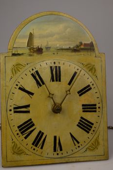 Wood Schwarzwald clock - 19th century - Germany - Boats and sea motif.