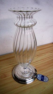 Flower vase by the prestigious Cecconi Silverware Company with base in solid silver 925*/00 - glass vase, blown and decorated by master silversmiths of Murano - Made in Italy