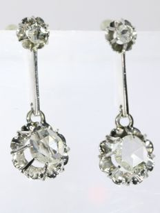Art Deco white gold diamond earrings with rose cut diamonds, anno 1920