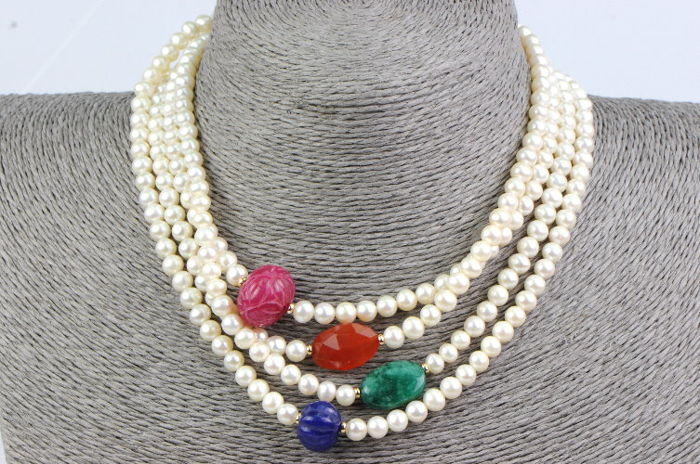 14 kt yellow gold necklace with fresh water cultured pearls and various gemstones - 162 cm