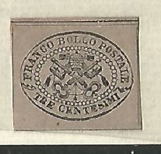 Papal States: 1867, 3 cents grey/pink