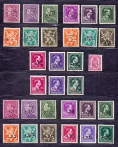 "Belgium 1946 – three complete series ""-10%"" overprints, including ""Gellingen"" – OBP 724A/724W."
