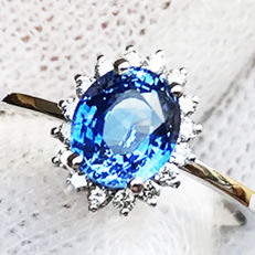 1.72ct Sapphire and Diamond Ring made of 18 kt white gold - NO RESERVE -