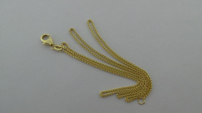 14 kt gold foxtail necklace – Length: