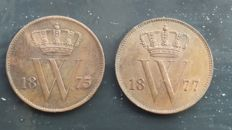 The Netherlands – 1 cent, 1875 and 1877, William III – copper