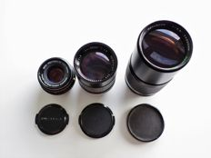 3 Pentax K lenses: 50, 135 and 300 mm