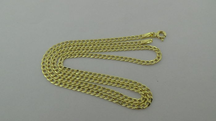 14 kt Gold Curb Link Necklace -  Length: 45 cm