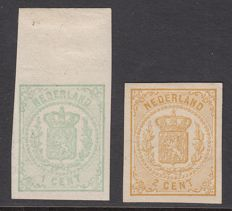 The Netherlands 1869 - National coat of arms, imperforate - NVPH 15v and 17v