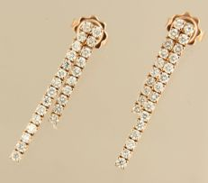 18 kt rose gold dangle earrings set with brilliant cut diamonds, in total approx. 50 brilliant cut diamonds, in total approx. 1.45 ct