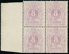 1869 OBP 29b, Lying lion with coat of arms, 8 c, violet – block of 4 with sheet edge