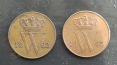 The Netherlands – 1 cent 1862 and 1863, Willem III – copper