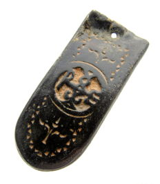 Medieval Strap End with Christian Monogram refering to st. Peter - 44mm