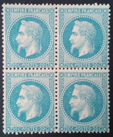 France 1868 – Napoléon III with laurel crown, 20 cents blue, Block of 4, signed Brun with Cérès certificate – Yvert no. 29B