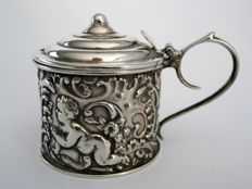 Silver mustard pot with glass interior, cherub motif, John Millward Banks, Birmingham, 1891