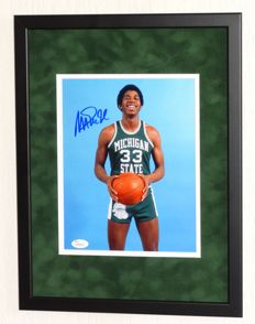 Magic Johnson original signed photo - Premium Framed + Certificate of Authenticity from JSA