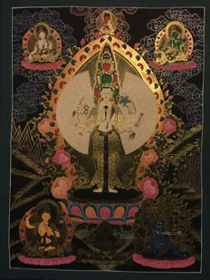 Hand painted Thangka painting, representing Avalokiteshvara/Thousand Hand Buddha with 4 Deities  - Tibet/Nepal - 21st century