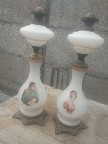 Napoleon and Josephine - set of oil lamps