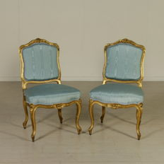 Pair of upholstered chairs in Baroque style-first half of 1900 - Italy