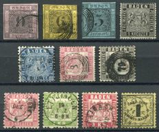 Baden 1851/68 - Selection with Postage Due