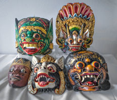 Five wooden masks - 4 x Barong - 1 x Topeng - Bali/Java - Indonesia - middle and 2nd half 20th century