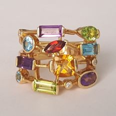 Yellow gold ring with diamonds, amethysts, peridots, topazes, citrine and garnet – Size: 17 mm, 13.5/53.5 (EU)