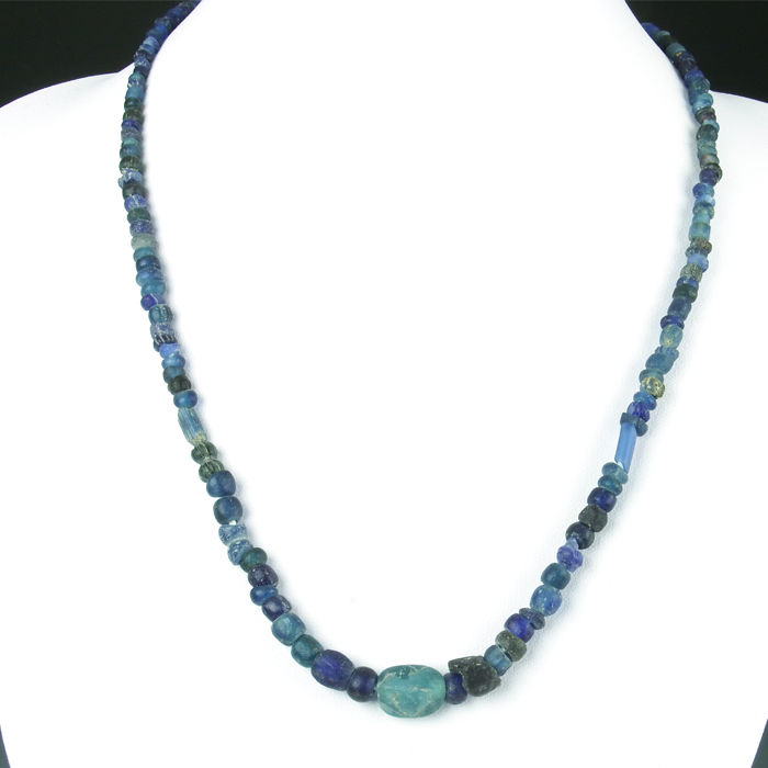 blue chip glass vintage p choker bright vivid beads asp necklace