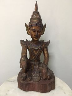 Large wooden seated angel Mandalay style - Burma - 2nd half 20th century (47 cm)