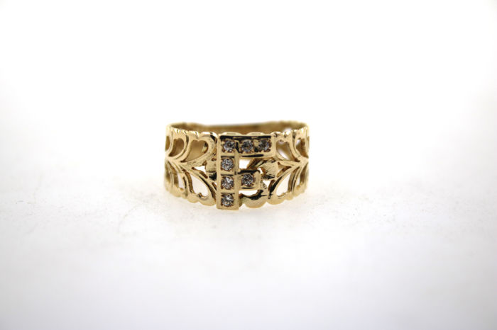 "Filigree letter ring ""F"" 585 yellow gold with zircon - size 55"