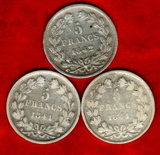 France - 5 Francs 1841 BB, 1841 W and 1842 W (Set of 3 coins) Louis Philippe - Silver.