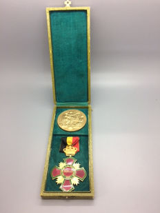 "Medal and portable decoration ""Salon de l'Alimentation Brüxelles 1932"" Brussels food exhibition 1932 in a case"