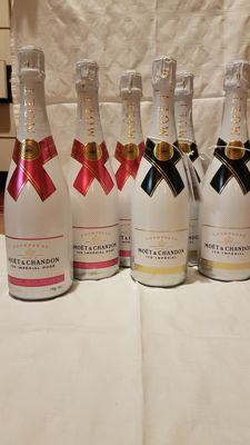 Moet & Chandon Ice Imperial, Champagne;  Rose x 3 & Ice x 3 - 6 bottles (75cl) total