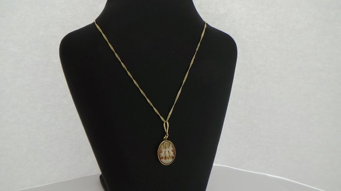 14 kt gold cameo pendant on a singapore link necklace length 415 14 kt gold cameo pendant on a singapore link necklace length 415 cm aloadofball Gallery